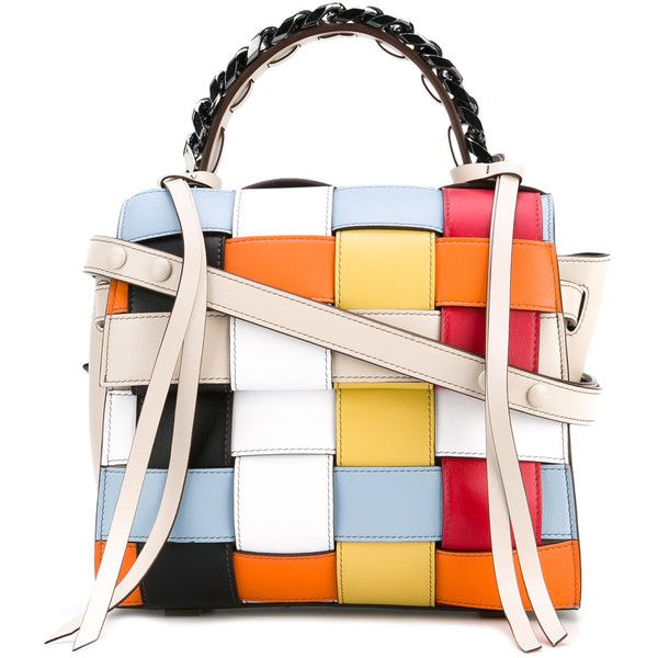 Elena Ghisellini Crossed tote ($750) ❤ liked on Polyvore featuring bags, handbags, tote bags, multicolor, multi color purse, multi colored handbags, multicolor handbags, multi coloured handbags and white tote bag