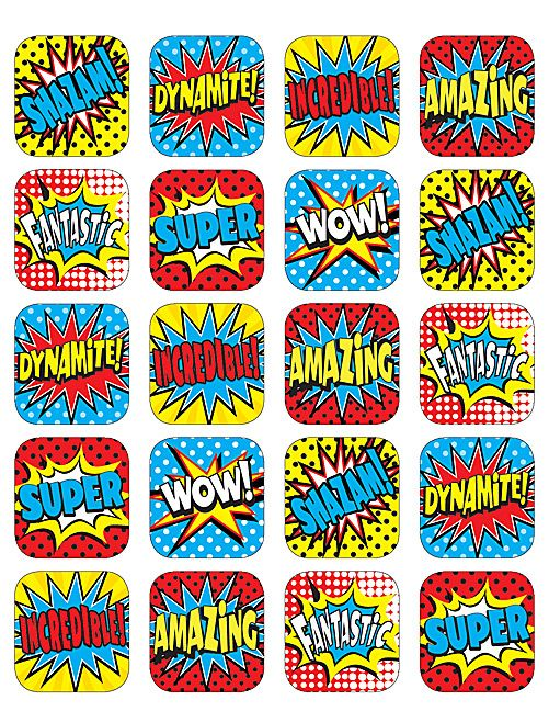 Superhero Stickers - Stickers are acid-free and lignin-free. Measures approx.