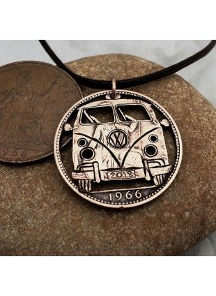 Handcrafted and repurposed coin VW camper-van pendant necklace