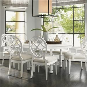 Ivory Key 7 Piece Round Knapton Hill Dining Table With Mill Creek Dining  Chairs With Quatrefoil Diamond Backs By Tommy Bahama Home At Becker.