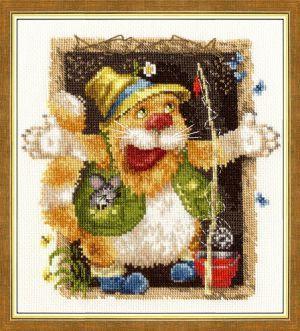 """Cross-stitch kit Zolotoe Runo """"Fluffy fisherman"""""""