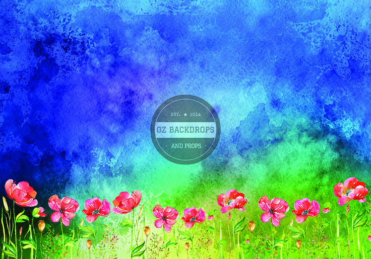 Little Stormy Poppy Field - Oz Backdrops and Props