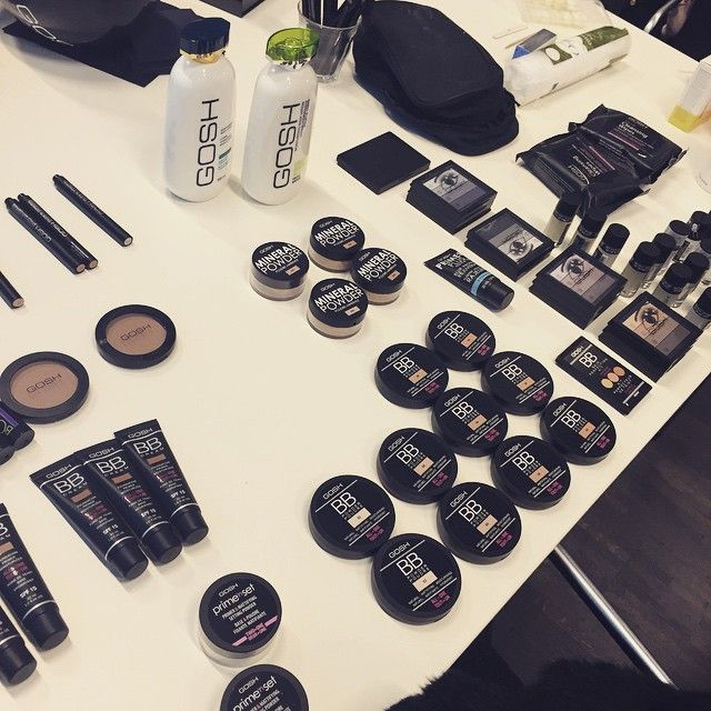 Face products are all lined up  #goshcosmetics #kopenhagenfur #cphfw #aw15