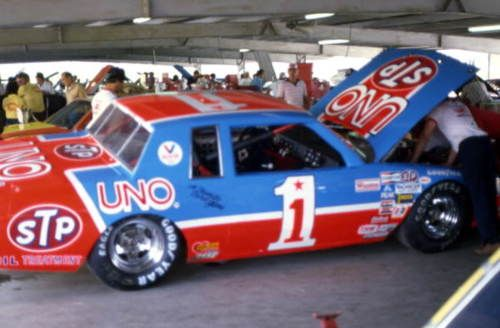 kyle petty's STP UNO Pontiac Grand Prix in the garage. Firecracker 400, july 82  florida memory