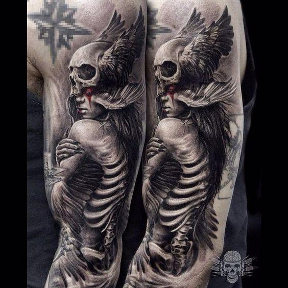 minerva | Skeleton Lady Tattoo by Javier Antunez @Tattooedtheory #JavierAntunez #Tattooedtheory #Blackandgrey #Realistic #Skeleton #Skull #Lady | Tattoodo