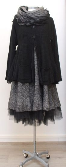 rundholz black label - Strickkleid Cotton Knit black melange - Winter 2015 - stilecht - mode für frauen mit format...