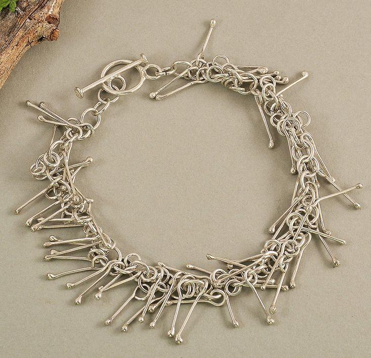 Sterling silver plain bracelet, chain bracelet, charm bangle, elegant jewelry, great women gift, sophisticated bangle, wedding jewelry by ColorLatinoJewelry on Etsy