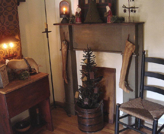 Just love the faux fireplace and tree