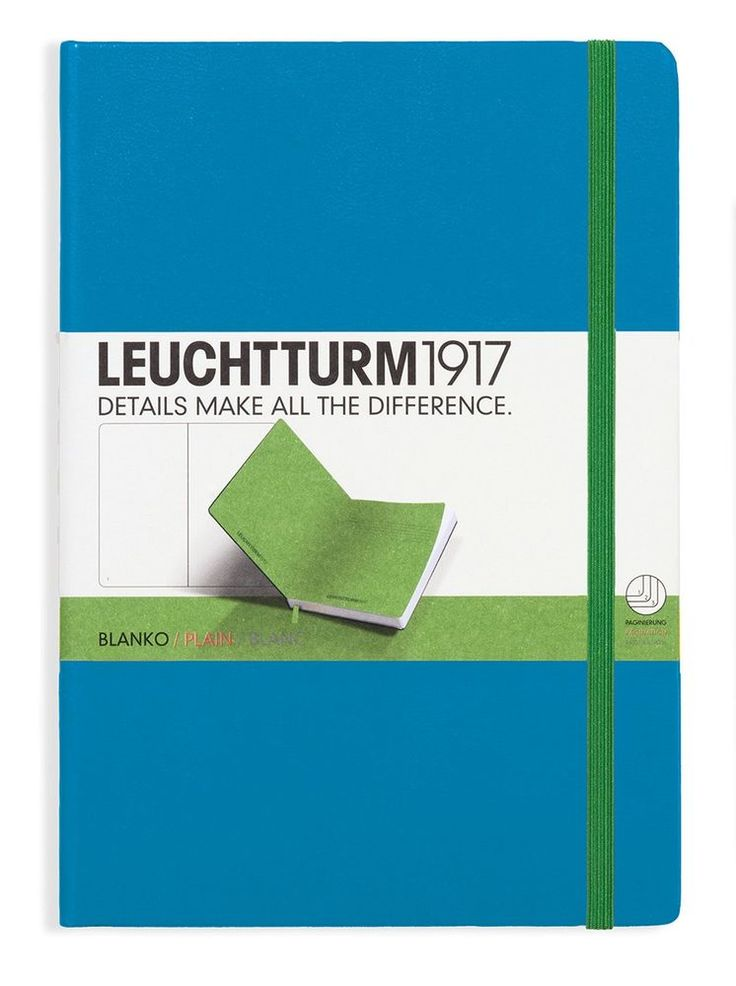 Leuchtturm1917 Classic Hardcover Plain Medium Notebook Azure/Lime   #BulletJournal #BulletJournaling #Notebook #Leuchtturm #DottedNotebook #Journal #Journaling #DotGrid #DotGridNotebook #LEUCHTTURM1917 #LEUCHTTURM1917