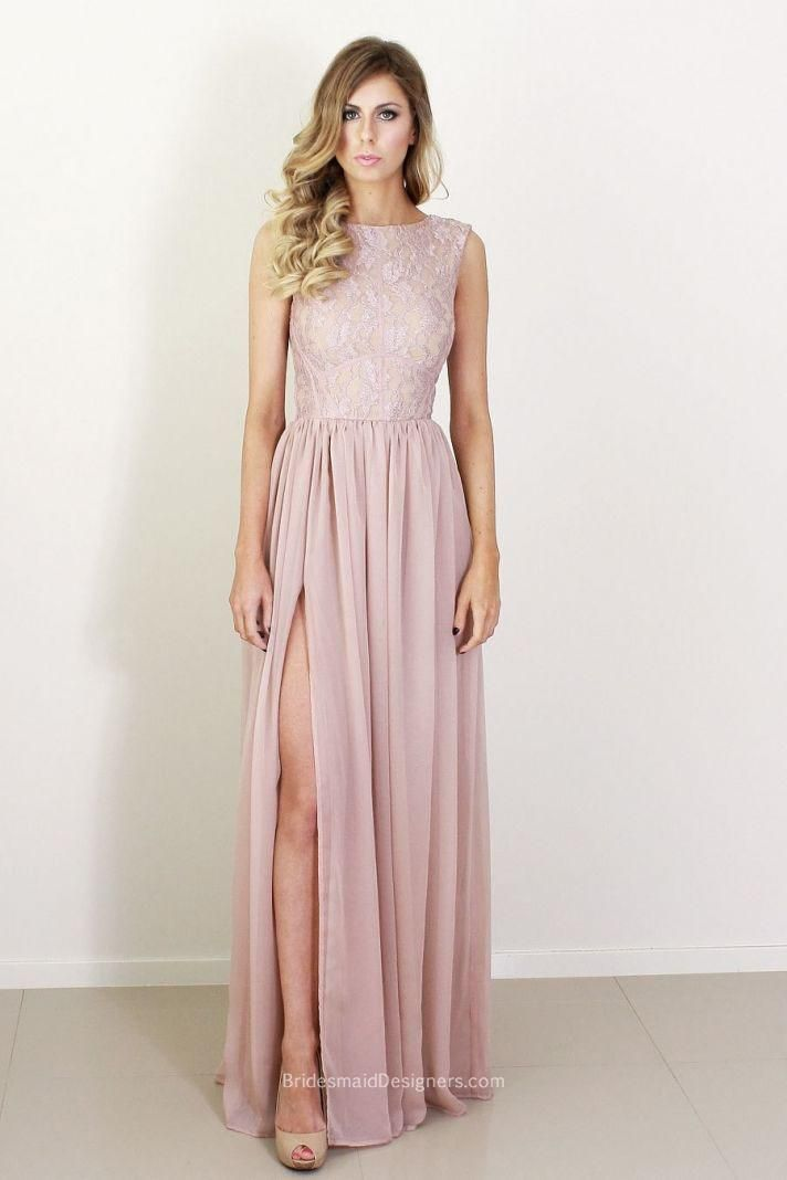 blush pink sleeveless lace bodice long side slit chiffon bridesmaid dress