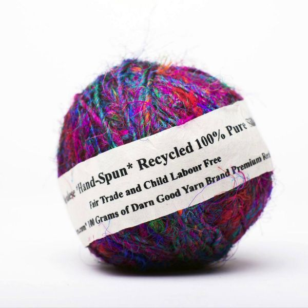 Sari Silk Handspun Yarn worsted weight, vibrant, exotic and 100% made from recycled sari silk remnants each 100g ball/90 yard is wound for you