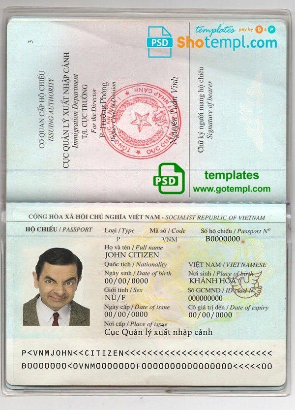 Vietnam Passport Template In Psd Format Fully Editable In 2020 Passport Template Templates Psd