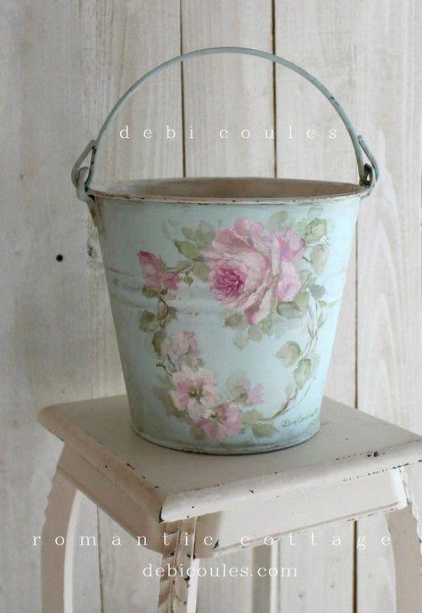 Shabby Vintage Roses Bucket - Debi Coules Romantic Art