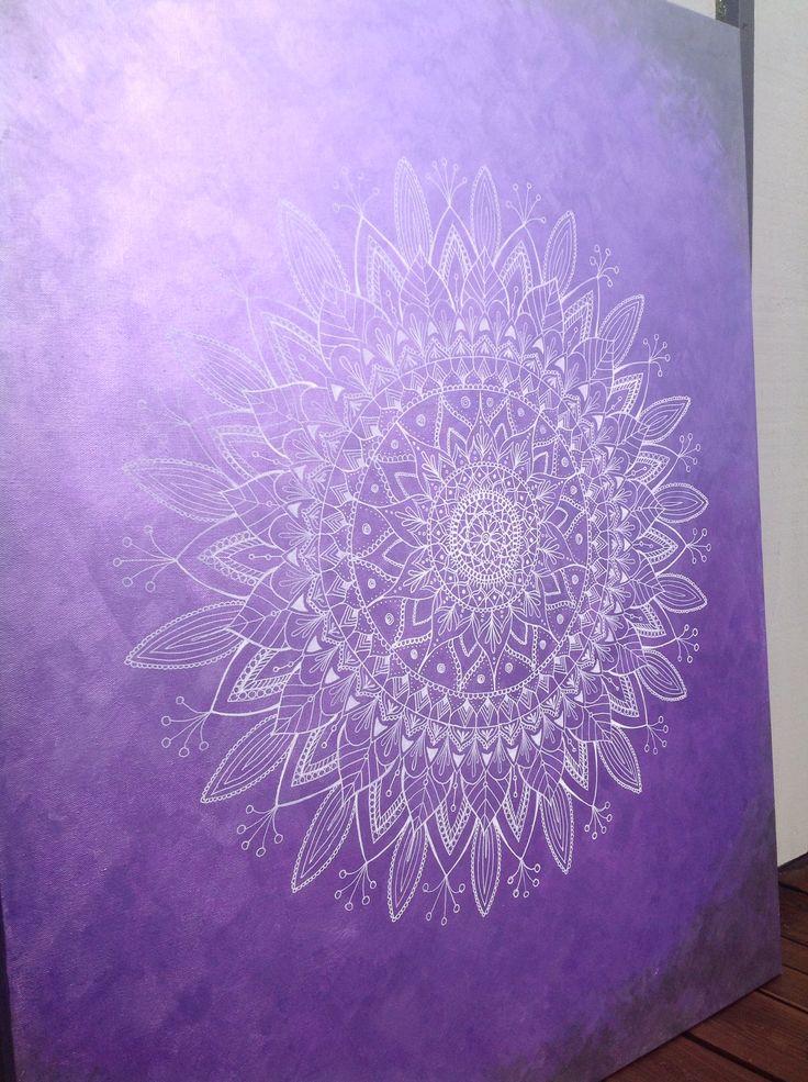 Mandalas. White ink and Inka Gold paste on canvas