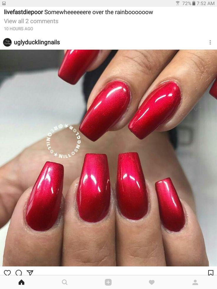 die besten 25 red chrome nails ideen auf pinterest metallische n gel gl nzende n gel und. Black Bedroom Furniture Sets. Home Design Ideas