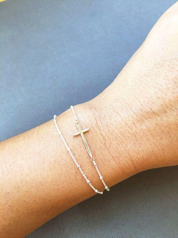 Christian Jewelry Sterling silver Sideways Cross Bracelet