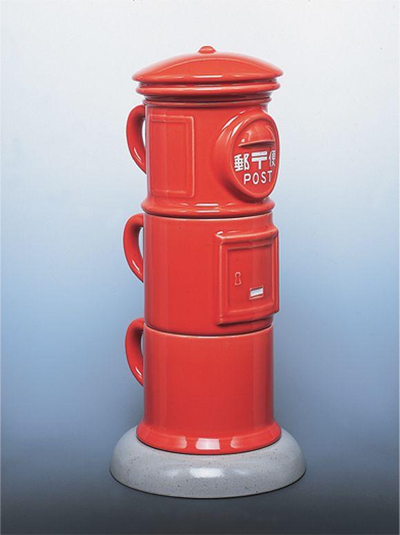 磁器製丸型郵便ポストティーカップセット