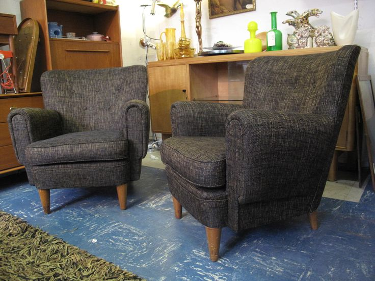 Wingback 1950s Vintage Armchairs Reupholstered Featherston era