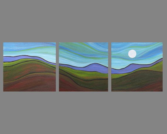 ORIGINAL landscape painting triptych by SageMountainStudio on Etsy, $129.00
