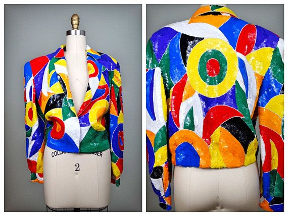 WOW Opt Art Sequin Jacket / 80's Retro Sequined Trophy by braxae