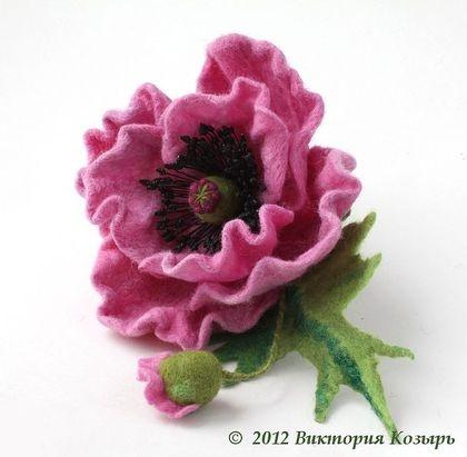"""Броши ручной работы. Ярмарка Мастеров - ручная работа Брошь """"Розовый мак"""". Handmade."""