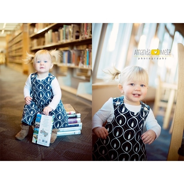 Library Photo Shoot for little bookworms! www.amandametzphoto.com
