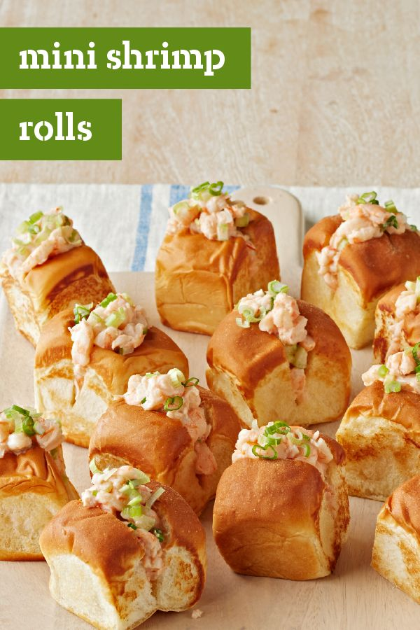 Mini Shrimp Rolls – Need a tasty appetizer recipe for your next get-together? These Mini Shrimp Rolls are sure to please your friends and family. Simply fill up toasted dinner rolls with a creamy mixture of shrimp, chili sauce, and celery. They couldn't be easier to prepare.