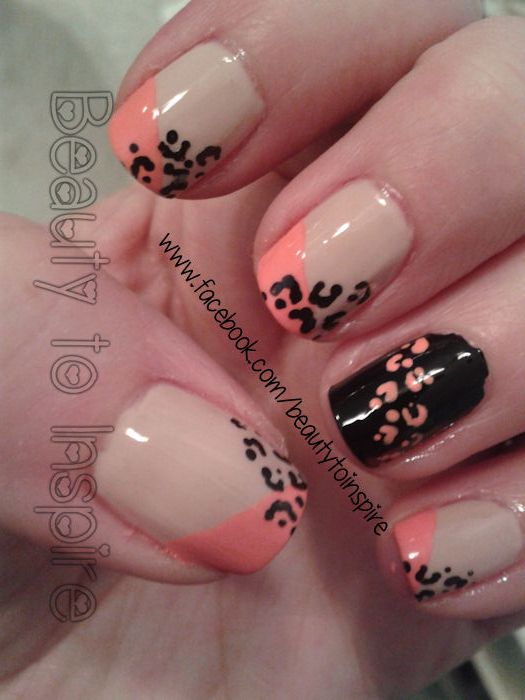 www.facebook.com/beautytoinspire peach black leopard cheetah print nails manicure girly nail art
