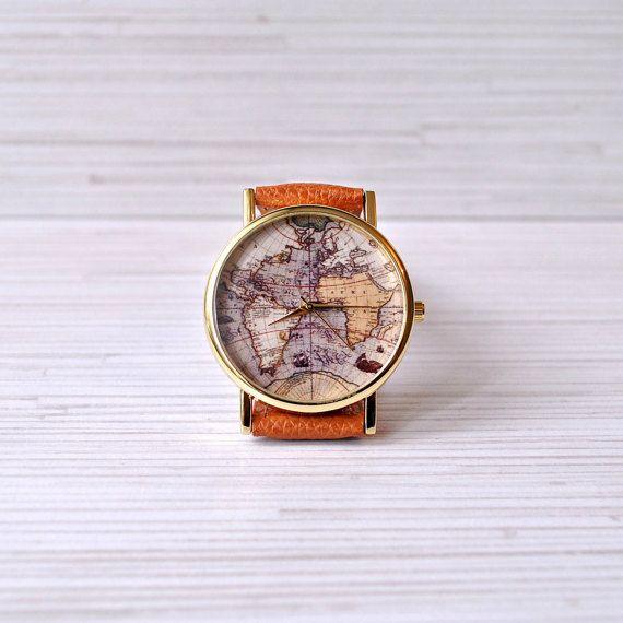 Wereld kaart horloge. De Gift van Kerstmis. Globe door AyoBijou