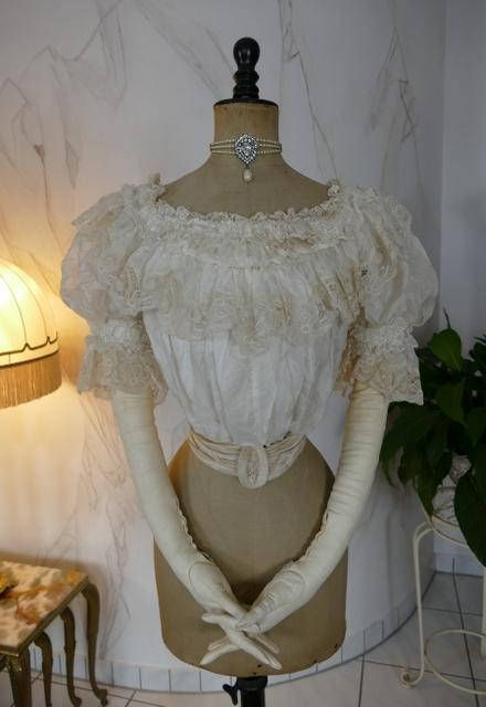 Edwardian silk and lace evening bodice with separate belt