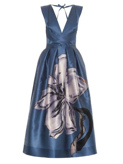Dieses glänzende blaue Herzogin-Satin-Kleid ist e…