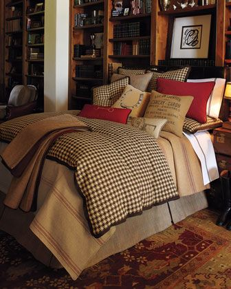"""Equestrian"" Bed Linens by French Laundry Home at Horchow.   This just shouts to me, "" dignified man, country gentleman"", love for guest bedroom..."