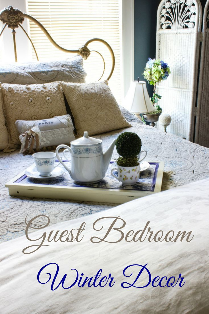 Guest Bedroom Winter Decor in blues and ecru. I love the serene and calm look of this room - A Delightsome Life