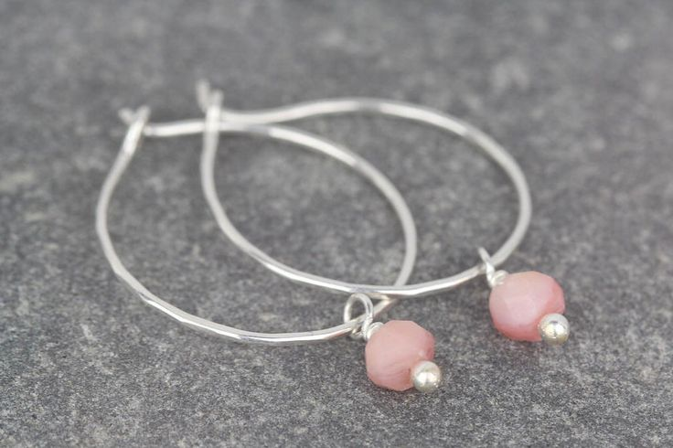 Tiny pink opal earrings ~ sterling silver hoop earrings ~ mini stone hoops ~ gemstone earrings ~ opal birthstone  ~ pink small hoops by AmySquaredJewellery on Etsy https://www.etsy.com/uk/listing/509677230/tiny-pink-opal-earrings-sterling-silver