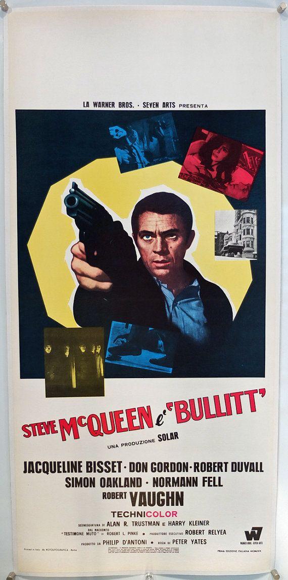 """Bullitt"", Italian Locandina (13x28in) Bold italian design for this great classic #vintage #movie #posters"
