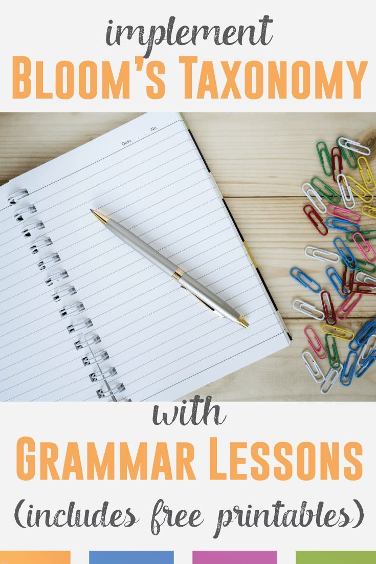 Implement Bloom's Taxonomy into grammar lesson plans with these ideas.