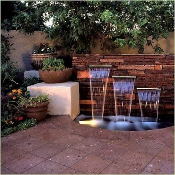 Tiered, three drop water feature, stone wall, noise screening water feature