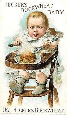 Victorian Trade Card Advertising 1893 Heckers' Buckwheat Baby Food Highchair Victorian Trade Card Advertising for Hecker Jones Jewell Milling Co. for their Hecker's Self Raising Buckwheat with Hecker'