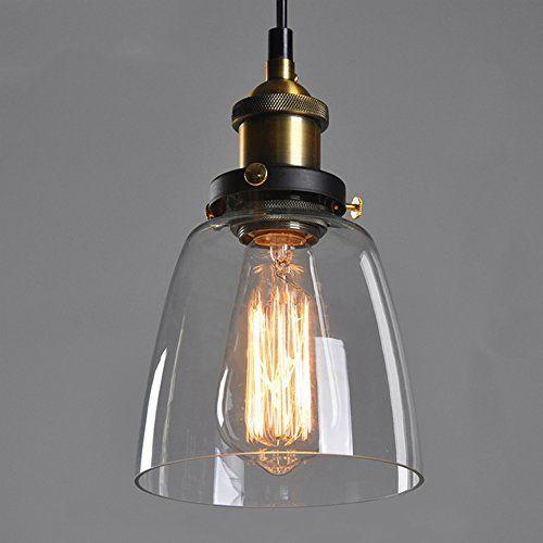De cristal colgante de la instalación de la sombra de techo de estilo vintage de las lámparas-DE luz de - E27 Cap sin bombilla: Amazon.es: Iluminación