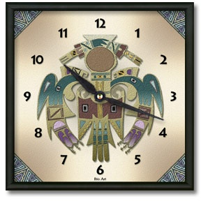 Bird Man Square Metal Wall Clock - From our Southwestern Clocks category, this clock features a Native American Thunderbird symbol.  $50.00