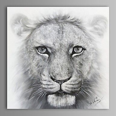Oil Painting Modern Abstract Lion Hand Painted Canvas with Stretched Frame – AUD $ 142.99
