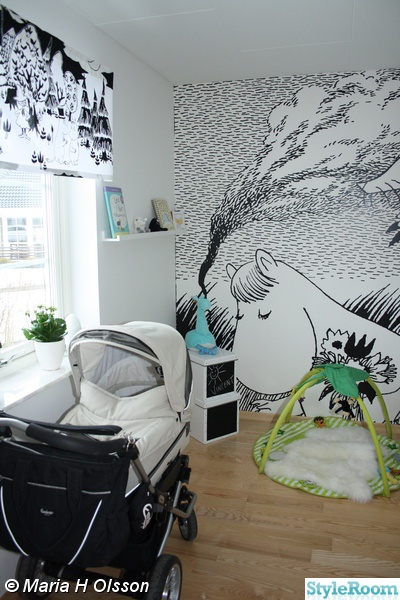 Moomin design in children's room