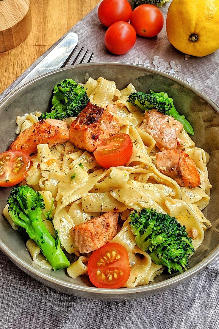 Cremige Lachs Pasta mit Brokkoli und Tomaten   Instakoch.de ...