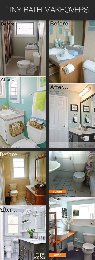 Tiny Bath Makeovers • Lots of Tips, Tutorials and Before & Afters of super small bathrooms #smallbathroom