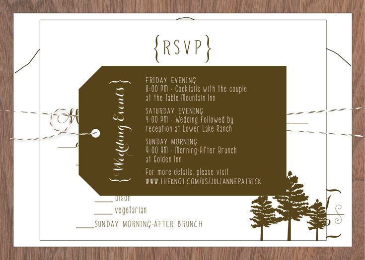 A simple mountain silhouette is the backdrop for the unique modern mountain style invitation. Handwritten style fonts grace the overall design with the use of a bracket and swirl monogram. A pine cone sprig branch is incorporated into the reply card design. An optional walnut wood veneer backer finishes the invitation card. This wedding invitation is a great fit for a rustic, modern, rocky mountain wedding. This invitation comes with multiple options from an invitation card only to unique…