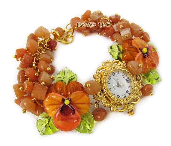 Floral women quartz lampwork  wrist bracelet watch от FlowerWatch
