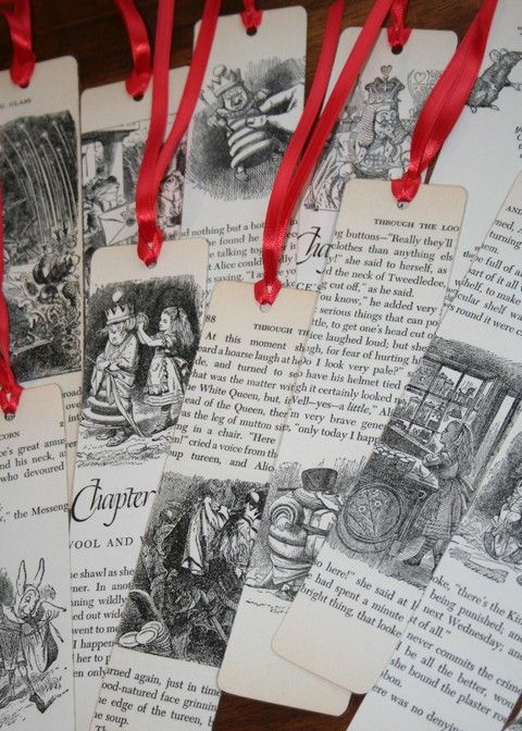 Cut out pages from damaged or weeded books to make bookmarks.  Dress it up with ribbon.  Original site no longer available.