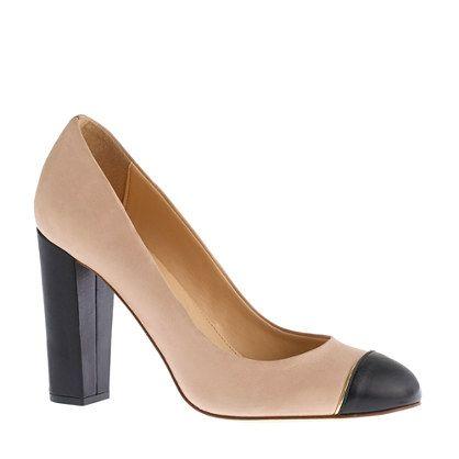 Etta cap toe leather pumps