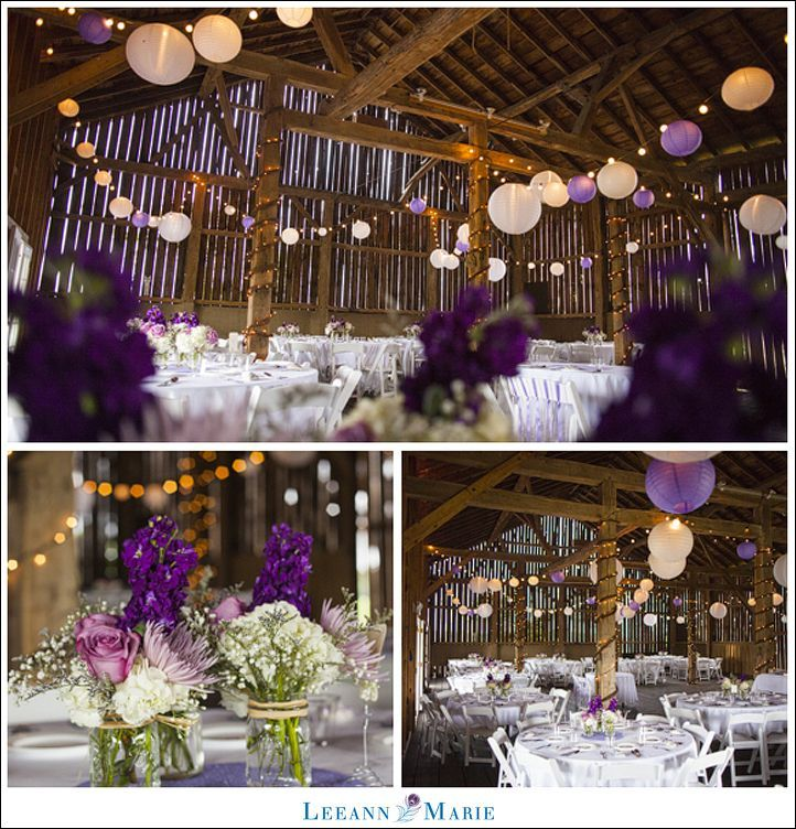black white purple wedding reception%0A Purple rustic chic wedding   Armstrong Farms  photo by Leeann Marie  Photography  Love the white purple lanterns and open space