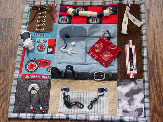 A Fidget Quilt can be used by Alzheimers, Dementia or Brain Trauma Patients. It has attachments to keep restless fingers busy, touching and playing with the items. Items have to be tightly anchored as they will get a workout!